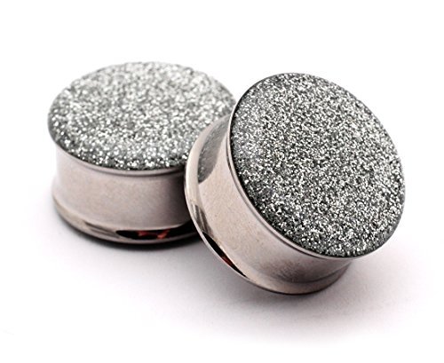 (Mystic Metals Body Jewelry Double Flare Silver Glitter Plugs - Sold As a Pair (3/4