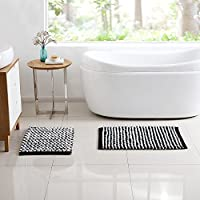 VCNY Home Reily Two Tone Cotton Blend Cut Pile 2-piece Bath Rug Set Black/White