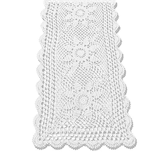 KEPSWET Sunflower Cotton Handmade Crochet Lace Rectangle Table Runner Coffee Table Decor (14x36 inch, White) (Doily Vintage White)