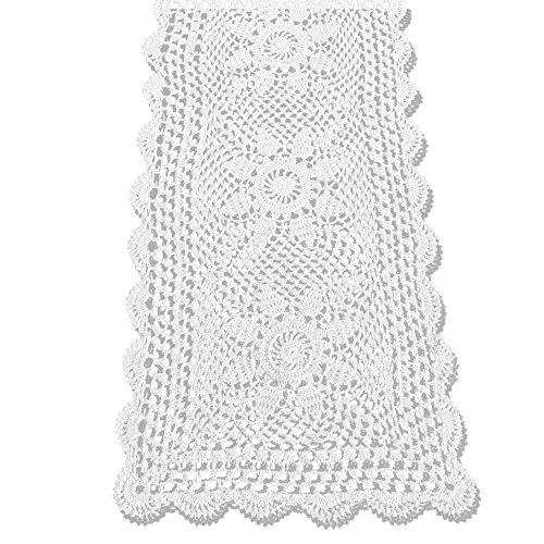 KEPSWET Sunflower Cotton Handmade Crochet Lace Rectangle Table Runner Coffee Table Decor (14x36 inch, White) ()