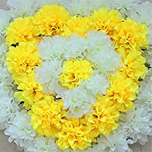 ZJJFZH Artificial Decorative Flowers Qingming Flower Simulation Chrysanthemum Heart Wreath Cemetery Sacrifice Sweeping Tomb Chasing Flowers on The Grave Placed Flowers Fake Flowers 99