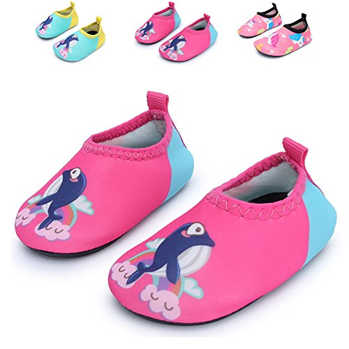Athletic Activity (JIASUQI Kids Boys Girls Fashion Barefoot Aqua Water Skin Shoes for Beach Sand Swim Aerobics,Pink Dophin 18-24 Months)