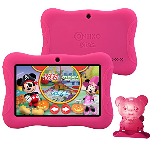 "Contixo Kids Safe 7"" Quad-Core Tablet 8GB, Bluetooth, Wi-Fi, Cameras, 20+ Free Games, HD Edition w/ Kids-Place Parental Control, Kid-Proof Case (Pink)"