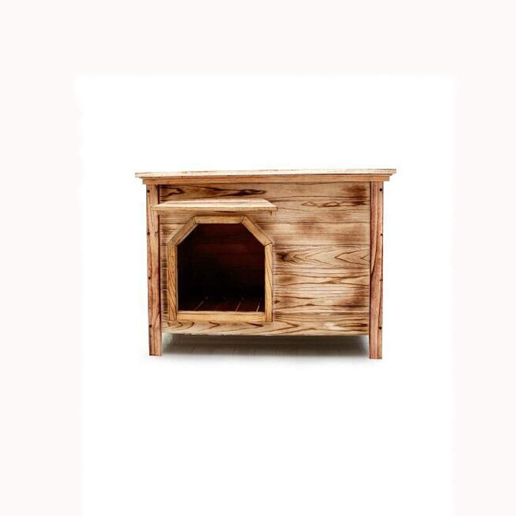 Medio sin puerta con ventana exterior interior plano superior de carbón de madera casa de perro casa de perro arena para gatos jaula de perro mascota caseta ...