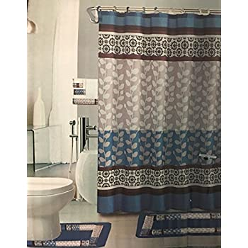 brown and blue bathroom accessories. Simple Blue Riely Blue 18piece Bathroom Set 2rugsmats 1fabric Shower Curtain  12fabric Covered Rings 3pc Decorative Towel Set And Brown Accessories
