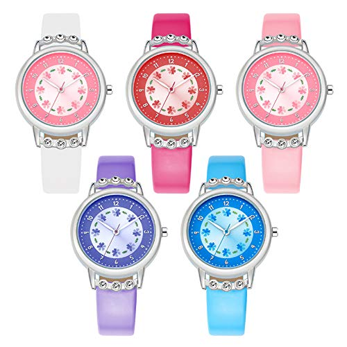 CdyBox Cute Girls PU Leather Watch Flowers Crystal Watches Easy Reader Time Teacher for Kids Xmas Gift (5 Pack)