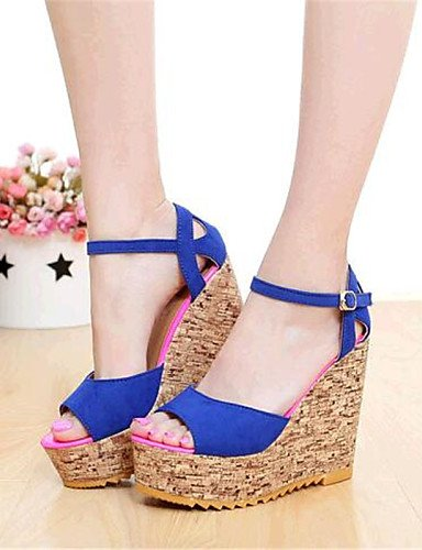 Keilabsatz Damenschuhe Damen Sandaletten Blau Wedges Red Lässig Rot Vlies ShangYi für Schwarz Sandalen qE0ntx