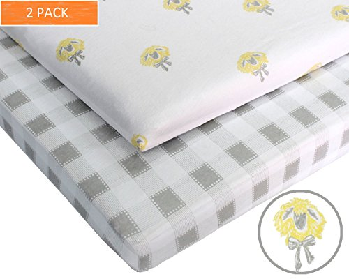 - Pack N Play 100% Jersey Cotton Crib Sheets (2 Pack) Baby Boy and Baby Girl (Gender Neutral) Custom Farm Designs (Gray and White Gingham and Gray and Yellow Sheep) by Hartley Ash Machine Washable