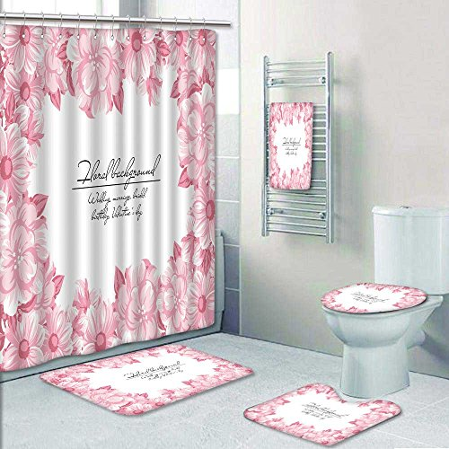 PRUNUSHOME 5-piece Bathroom Set-vintage delicate invitation with flowers for wedd marriage bridal birthday valentine s day Prints decorate the bathroom,1-Shower Curtain,3-Mats,1-Bath towel(Large) -