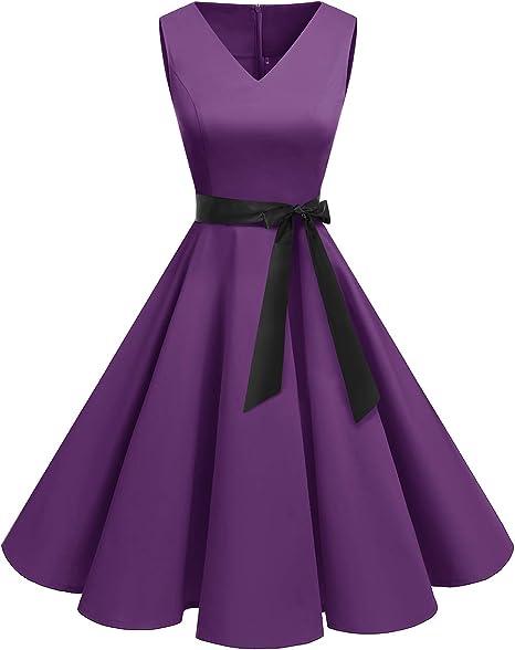 TALLA XL. Bridesmay Vestido de Cóctel Fiesta Mujer Verano Años 50 Vintage Rockabilly Sin Mangas Pin Up Morado XL