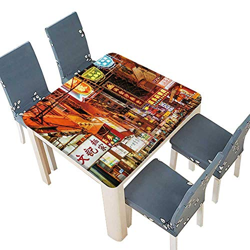 PINAFORE Waterproof SpillProof Tablecloth Busy Street Scene with neon Signs in Hong Kong Table Cover for Dining Room and Party 61 x 61 INCH (Elastic Edge)