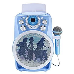 eKids Frozen 2 Bluetooth CDG Karaoke Machine with LED Disco Party Lights, Built in Microphone for Kids, Portable…