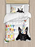 Big buy store Kids Birthday Duvet Cover, Sleepy French Bulldog Party Cake with Candles Cone Hat Celebration Image, Decorative 4 Piece Bedding Set with 2 Pillow Sham, Multicolor(Twin)