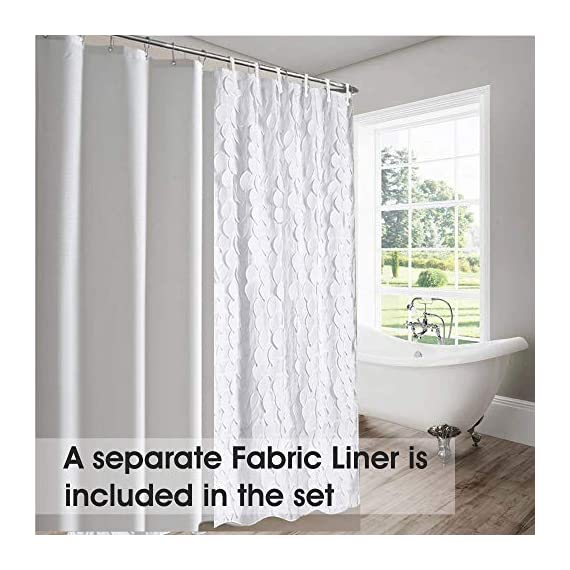White Shower Curtain & Liner with 12 Shower Curtain Hooks. 72 x 72 Inch Eco Friendly 100% Polyester Fabric Farmhouse Shower Curtain Bathroom Set. Farmhouse Bathroom Décor by OHH! - 🚿 STYLISH: Elegant ruffle design that will suit any style; farmhouse, rustic, chic, modern or coastal. 🚿 ALL IN ONE SET: 1 x white shower curtain, 1 x white shower curtain liner and 12 x shower curtain rings. Don't waste time shopping around for individual items. 🚿 ECO FRIENDLY: Both liner and curtains are made from 100% polyester waterproof fabric meaning no vinyl smell. - shower-curtains, bathroom-linens, bathroom - 51ln3Ad0WWL. SS570  -