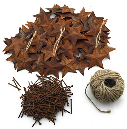 Group of 100 Rusted Metal Stars (2.25) with 100 Rusted Nails with 100 feet of Ameli Jute Twine Bundle for Rustic Decor, Rustic Christmas Decorations and Holiday Crafting
