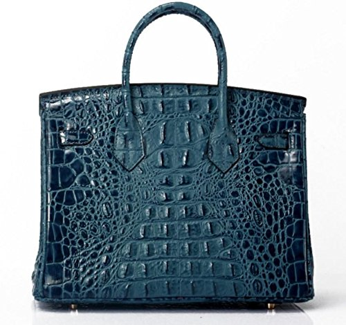 Vintage Alligator Birkin Style Bag Purse Tote Handbag (Brown, 25cm - S) by PRISTINE&BB (Image #8)