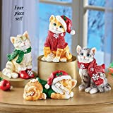 Collections Etc Festive Holiday Cat Sitters - Set