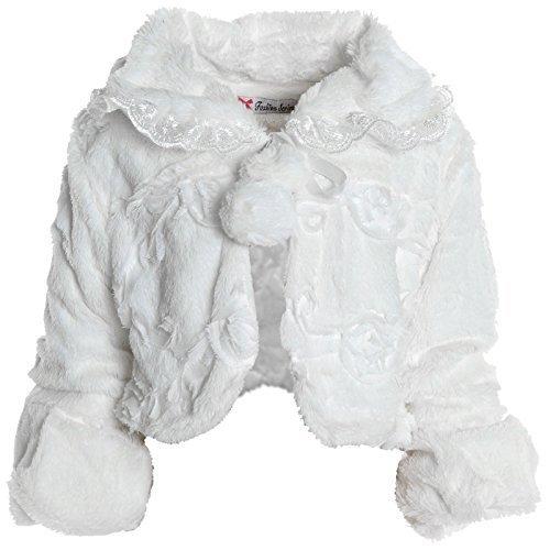 Mädchen Pelz Bolero Strick Kinder Rüschen Ärmel Schulterjacke Winter Jacke 20630, Farbe:Weiß;Größe:104