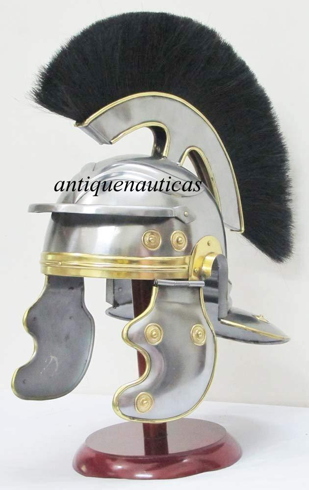 Shivi Shakti Enterprises Medieval Knight Armour Roman Casco Centurion Histórico Casco Armor con Plume Negro Halloween