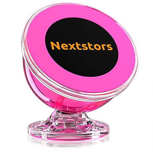 - Magnetic Phone Car Mount - Universal Magnetic Phone Holder for Car - 360 Degree Rotation from Dashboard - Cell Phone Holder for Car Compatible with All Smartphones (Pink)