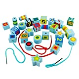 Fajiabao Wooden Lacing Beads Shapes Sorter Educational Toys Activity for Kids Toddlers with 27 Beads and 2 Laces Blue