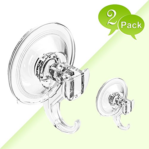 Budget & Good Suction Cup Hooks Heavy Duty Shower Suction Hooks Waterproof Bathroom Suction Hooks Wreath Hanger for Shower Towel Robe Loofah Bags Kitchen, 2 Pack Clear