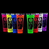 UV Glow Blacklight Face and Body Paint 0.68oz - Set of 8 Tubes - Neon Fluorescent