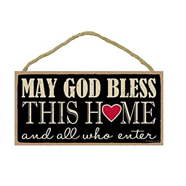 May God Bless This Home And All Who Enter Primitive 5  X 10  Wood Plaque Sign