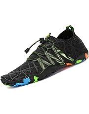 Chaussures Aquatique pour Homme Femme Chaussons de Plage de d'eau avec Lacets Autobloquants pour Sport Aquatique Piscine et Plage Surf Plongée Natation Noir, 40 EU