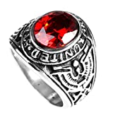 united states army ring - HIJONES Men's Stainless Steel United States Army Ring with Red Stone, Red Size 8