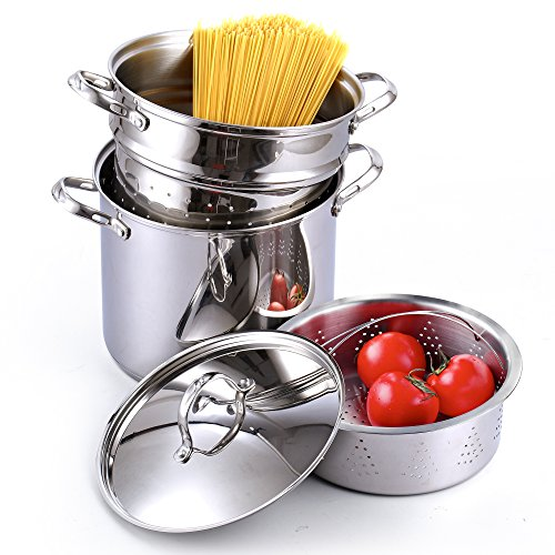Cooks Standard Classic 4-Piece 12 Quart Pasta Pot Cooker Steamer Multipots, Stainless Steel by Cooks Standard (Image #6)