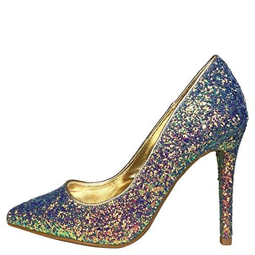 Anne Michelle Womens Punta A Punta Tacco Pompa Liscia In Glitter Glitter Blu