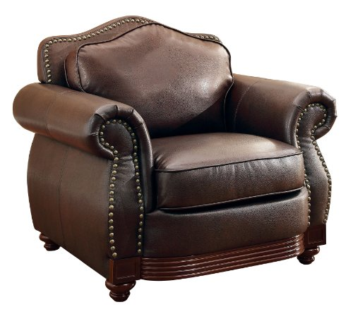 Leather Easy Chair (Homelegance 9616BRW-1 Sofa Chair, Dark Brown Bonded)