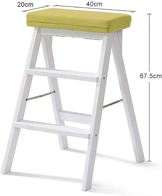 XITER Escalera de Madera Blanca del Taburete del Paso de la Madera sólida para los Adultos Escalera de Mano de Madera de la Cocina Plegable hasta Taburete Taburete Banco Taburete Escalera: Amazon.es: