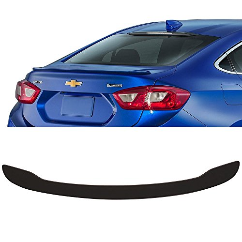 Trunk Spoiler Fits 2016-2018 Chevy Cruze | OE Style Matte Black ABS Added On Rear Lip Wing Bodykits by IKON MOTORSPORTS | 2017