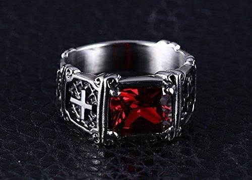 UOKOHO Men's Vintage AAA Ruby Cubic Zircon Stone Titanium and Stainless Steel Cross Ring Size 6/7/8/9/10/11/12/13/14 (14)