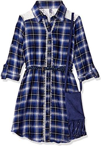 Bt Kids Dress (Beautees Big Girls' Woven Plaid BT. Ft. Shirt Dress, Cobalt, 10)