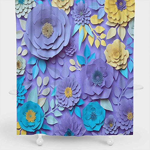 Markday Polyester Fabric Shower Curtain 3D Rendering Digital Illustration Paper Rose Flowers Floral Wall Decor Botanical Background Pastel Violet and Yellow Colors Shower Curtains in Bath W48 x L84