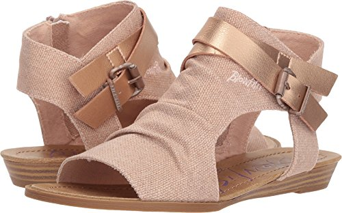 Blowfish Women's Balla Wedge Sandal (6 B(M) US, Rose Gold Rancher/Rose Gold Pisa Pu)