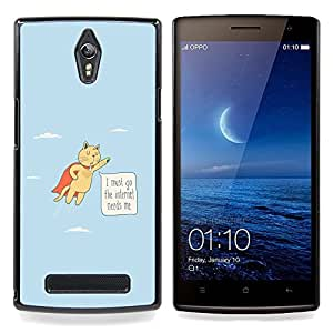 "Planetar ( Gato divertido Flying Cita Adicción a Internet héroe"" ) OPPO Find 7 X9077 X9007 Fundas Cover Cubre Hard Case Cover"