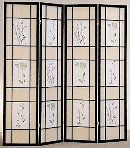- Legacy Decor 4 Panel Floral Accented Screen Room Divider, Black Wood Frame, Printed Shoji Paper