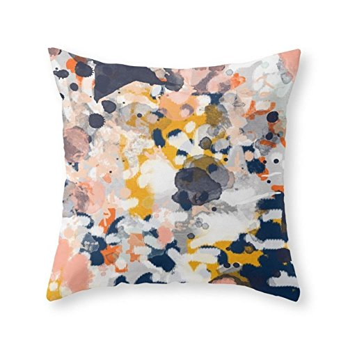 Sea Girl Soft Stella - Abstract Painting In Modern Fresh Colors Navy, Orange, Pink, Cream, White, And Gold Throw Pillow Indoor Cover Pillow Case For Your Home(18in x 18in) (Stella Iron Flat)