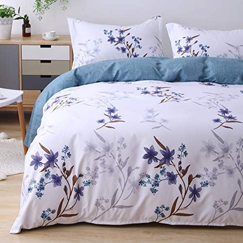 (Candid Bedding Duvet Cover Set Printed 5 Piece Duvet Cover 4 Pillow Shams Ultra Soft with Zipper Closure Reversible (Twin, Blue Flower))