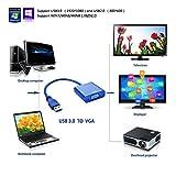 Premium USB 3.0 to VGA Adapter Converter, Jackiey Mini Full HD External Video Card Multi Monitor Adapter USB to VGA Adapter Converter Support Max Resolution 1080p for Win 7 8 10 (blue)