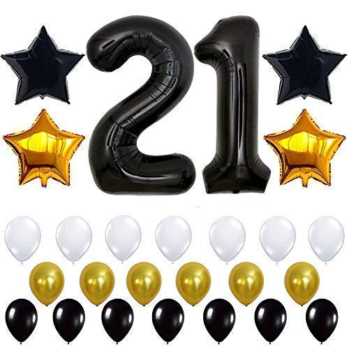 Black 21st Birthday Decorations, Large, Pack of 29 | 21st Birthday Balloons | 21 Birthday Decorations | 21 Black Balloons | 21st Birthday Black | 21 Birthday Party Supplies Kit -