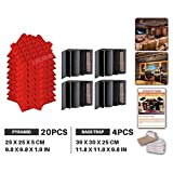 Ace Punch 20 Pack Pyramid 4 Pack Bass Trap 2 Colors Acoustic Foam Panel DIY Design Studio Soundproofing Wall Tiles Sound Insulation with Free Mounting Tabs 25 x 25 x 5 cm AP1034 AP1036 Red Pyramid and Black Bass Trap