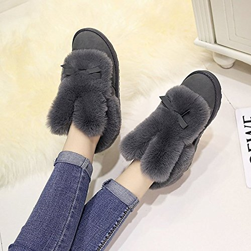 Nubuck Black Flat leather Snow HSXZ Ankle Pink Grey Gray for Toe Women's Heel Boots Casual Boots Shoes Bowknot Round Winter ZHZNVX Booties Boots wxt1YY