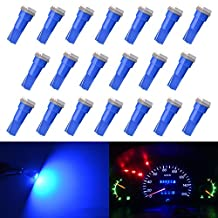 KaTur T5 70 73 74 79 85 86 206 406 LED Bulbs 5050 1SMD Blue 1W 12V Car Interior Instrument Cluster Gauge LED Lights Dashboard Signal LED Bulbs (Pack of 20)