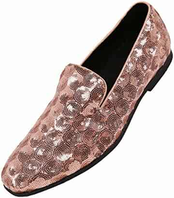 aea45fcc7da4 Amali Mens Sequin Circle and Diamond Patterned Comfortable Smoking Slipper Dress  Shoes, Nightclub Slip On