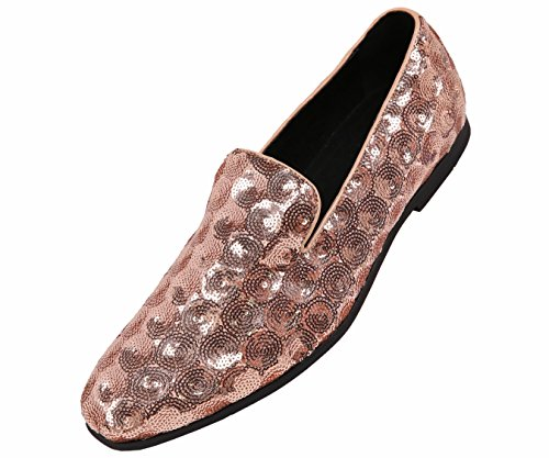 Amali Mens Sequin Circle Patterned Comfortable Smoking Slipper Dress Shoe, Nightclub Slip On Loafer from Amali